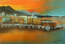 38-Patricia-Hawkins--'GREEK-HARBOUR-AT-SUNSETt'